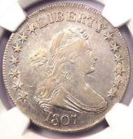 1807 DRAPED BUST HALF DOLLAR 50C COIN - NGC EXTRA FINE  DETAIL -  LUSTER - NEAR AU