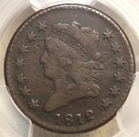 1812 CLASSIC HEAD LARGE CENT, LARGE DATE,  FINE PCGS CERT,  TYPE COIN