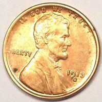 1913-S LINCOLN WHEAT CENT PENNY 1C - UNCIRCULATED DETAILS UNC MS -  DATE