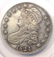 1824 CAPPED BUST HALF DOLLAR 50C - CERTIFIED ANACS EXTRA FINE 45 DETAILS EF45