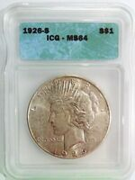 PEACE DOLLAR 1926 S  MINT STATE 64 GRADED  ICG