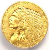 1909-D INDIAN GOLD HALF EAGLE $5 COIN - ICG MINT STATE 65 -  IN MINT STATE 65 - $8,440 VALUE