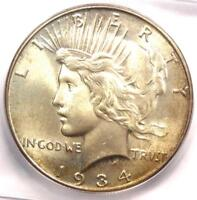 1934 PEACE SILVER DOLLAR $1 COIN - CERTIFIED ICG MINT STATE 65 GEM BU - $810 VALUE