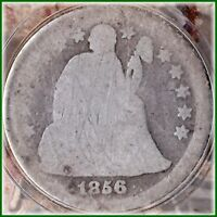1856 SEATED DIME SILVER   LARGE STARS OPEN 6  HOLIDAY BARGAIN BUY $6.95