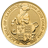 2018 G BRITAIN 1/4 OZ GOLD QUEEN'S BEASTS BLACK BULL OF CLARENCE 25 BU SKU52873