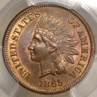 1865 INDIAN CENT, FANCY FIVE, SNOW-9, RPD, PCGS/CAC MINT STATE 64RB, CONDITION CENSUS?