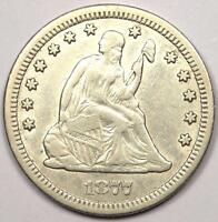 1877 CC SEATED LIBERTY QUARTER 25C   SHARP DETAILS   NICE LUSTER    COIN