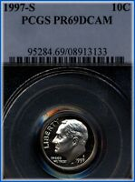 1997 S ROOSEVELT DIME  PCGS PROOF 69 DEEP CAMEO  BARGAIN PRICED $5.00