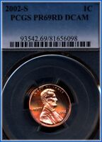 2002 S LINCOLN CENT  PCGS PROOF 69 FULL RED DEEP CAMEO  BARGAIN PRICED $5.00