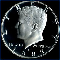 1987 S KENNEDY HALF   BLACK & WHITE DEEP CAMEO GEM PROOF   LOW BUY PRICE $4.50
