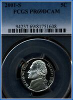 2001 S JEFFERSON NICKEL  PCGS PROOF 69 DEEP CAMEO  BARGAIN PRICED $5.00