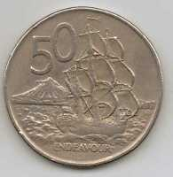 NEW ZEALAND   50 CENTS   QEII 1974   COPPER NICKEL  13.61 G   31.75 MM
