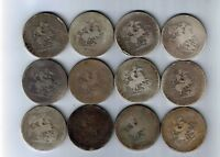 12 X WORN GEORGE III STERLING SILVER CROWNS   FIVE SHILLING