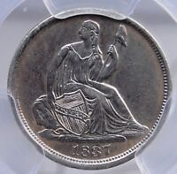 1837 NO STARS LARGE DATE SEATED HALF DIME PCGS AU DETAILS CLEANED QUITE