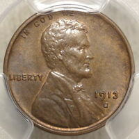 1913-S LINCOLN CENT, CHOICE ALMOST UNCIRCULATED PCGS AU-58, ORIGINAL SLIDER