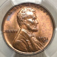 1931-D LINCOLN CENT, CHOICE UNCIRCULATED PCGS MINT STATE 64RB,  COLOR