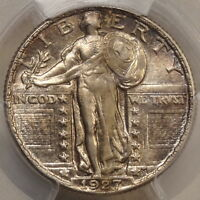 1927 STANDING LIBERTY QUARTER, CHOICE UNCIRCULATED PCGS MINT STATE 64,  COLOR
