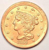 1855 BRAIDED HALF CENT 1/2C - UNCIRCULATED DETAILS UNC MS, CLEANED -  COIN