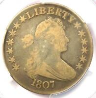 1807 DRAPED BUST HALF DOLLAR 50C O-105 COIN - PCGS VG8 -  CERTIFIED COIN