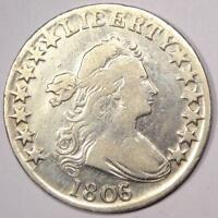1806/5 DRAPED BUST HALF DOLLAR 50C - VF DETAILS CONDITION -  EARLY COIN
