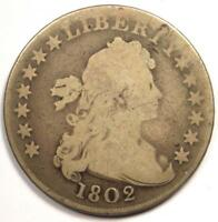 1802 DRAPED BUST SILVER DOLLAR $1 - GOOD DETAILS -  TYPE COIN