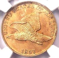 1857 FLYING EAGLE CENT 1C - NGC UNCIRCULATED DETAILS UNC MS -  PENNY