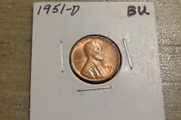 1951-D LINCOLN CENT CHOICE BU RED - BEAUTIFUL COIN