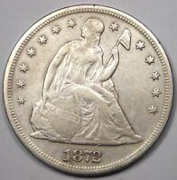 1872 SEATED LIBERTY SILVER DOLLAR $1 - EXTRA FINE  DETAILS EF -  EARLY TYPE COIN