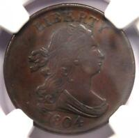 1804 DRAPED BUST HALF CENT 1/2C - CERTIFIED NGC AU DETAILS -  EARLY COIN