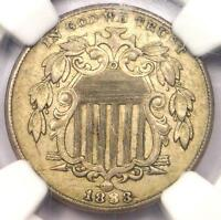 1883/2 SHIELD NICKEL 5C COIN FS-302 VARIETY - NGC AU58 - $1,875 VALUE