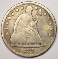 1870-CC SEATED LIBERTY SILVER DOLLAR $1 - VG DETAILS -  CARSON CITY COIN