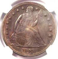 1845 SEATED LIBERTY SILVER DOLLAR $1 COIN - NGC UNCIRCULATED DETAIL UNC MS
