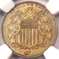 1868 SHIELD NICKEL 5C COIN - CERTIFIED NGC UNCIRCULATED DETAILS MS BU UNC