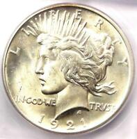 1921 PEACE SILVER DOLLAR $1 - CERTIFIED ICG MINT STATE 62 -  BU UNC COIN
