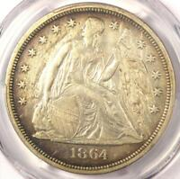 1864 SEATED LIBERTY SILVER DOLLAR $1 - PCGS AU DETAILS -  CIVIL WAR DATE