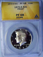1970-S ANACS PF 68 DCAM KENNEDY SILVER HALF DOLLAR PROOF ONLY 1 GRADES HIGHER