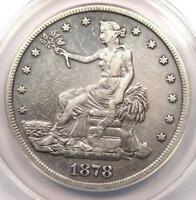 1878-S TRADE SILVER DOLLAR T$1 - ANACS EXTRA FINE 40 DETAIL EF40 -  CERTIFIED COIN