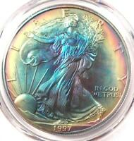 1997 TONED AMERICAN SILVER EAGLE DOLLAR $1 ASE - PCGS MINT STATE 67 - RAINBOW TONING COIN