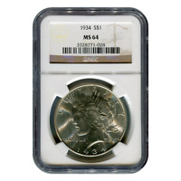 CERTIFIED PEACE SILVER DOLLAR 1934 MINT STATE 64 NGC