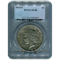 CERTIFIED PEACE SILVER DOLLAR 1934-S EXTRA FINE 40 PCGS