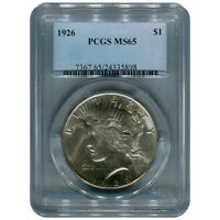 CERTIFIED PEACE SILVER DOLLAR 1926 MINT STATE 65 PCGS