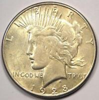 1928-S PEACE SILVER DOLLAR $1 - CHOICE AU -  LUSTER -  DATE COIN