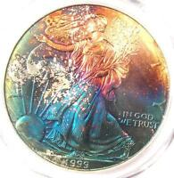 1999 TONED AMERICAN SILVER EAGLE DOLLAR $1 ASE - PCGS MINT STATE 68 - RAINBOW TONING COIN