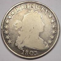 1803 DRAPED BUST SILVER DOLLAR $1 - GOOD DETAILS -  TYPE COIN