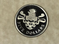 1975 CAYMAN ISLANDS 5 DOLLARS .925 SILVER COIN W/GREEN SEA TURTLE IN ISLAND ARMS