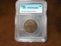 1798 UNITED STATES DRAPED BUST LARGE CENT 2ND HAIR CORRODED ICG VF-30 DETAILS