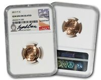 HISTORIC 2017 P SHIELD PENNY NGC GEM UNCIRCULATED   HAND SIGNED BY LYNDALL BASS