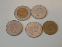 LOT OF 5 FOREIGN COINS 3 FROM KENYA 2 FROM MEXICO CIRCULATED