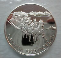 1992 CANADA STAGECOACH PROOF SILVER DOLLAR COIN
