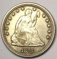 1891 SEATED LIBERTY QUARTER 25C   SHARP DETAILS   NICE LUSTER    COIN